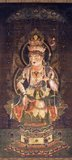 Eleven-faced Goddess of Mercy (絹本著色十一面観音像, kenpon choshoku jūichimen kannonzō). Hanging scroll. Color on silk. Located in the Nara National Museum, Nara, Japan.
